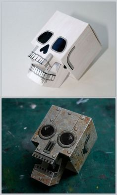 Free PDF Downloads. DIY Papercraft Skull with Articulated Jaw here and Papercraft Robot Skull here. From Skull a Day here.
