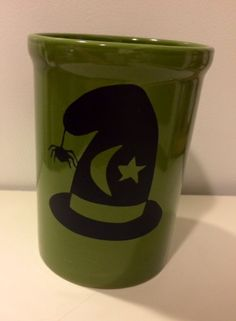 Halloween Mug, Witch Hat Coffee Cup, Green Mug, Halloween Decoration, Table Decor, Custom Cup, Witches Brew, Moon and Star Mug, Fall Cup by MaidenLongIsland on Etsy