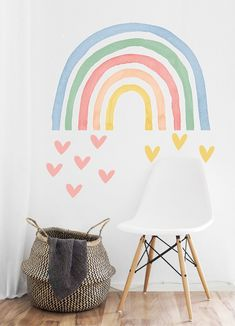 home decor bedroom Horse Wall Decals, Nursery Wall Decals, Bedroom Wall, Girls Bedroom Mural, Wallpaper Harry Potter, Rainbow Bedroom, Rainbow Room Kids, Rainbow Wall Decal, Little Girl Rooms
