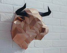 Bull Head Paper Origami Wall Hanging Papercraft