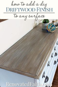 How to Make a DIY Driftwood Finish – Here are a few super easy steps to get a weathered wood faux finish on ANY SURFACE, not just raw wood. This tutorial gives you a Restoration Hardware style on your next furniture makeover with simple latex and glaze. Refurbished Furniture, Repurposed Furniture, Furniture Makeover, Refurbished End Tables, Furniture Projects, Kitchen Furniture, Diy Furniture, Furniture Stores, Painting Furniture