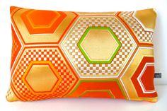 Cushion Pillow in Metallic Silver, Orange & Gold Hexagon Geometric Embroidered Silk from Vintage Japanese Obi NEW A/W15 Ltd Edition of 2