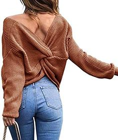 Sexyshine Women s Casual V Neck Criss Cross Backless Long Batwing Sleeve  Loose Knitted Sweater Pullovers Blouse 75151224c