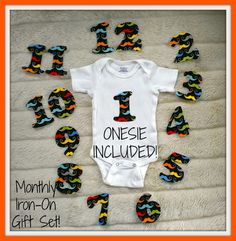 Bodysuit INCLUDED  Monthly IronOn Numbers for by BoyOhBoyBoutique
