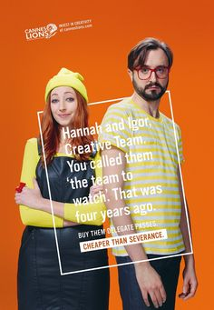 The Print Ad titled Hannah and Igor was done by McCann London advertising agency for Cannes Lions in United Kingdom. Ads Creative, Creative Advertising, Print Advertising, Advertising Campaign, Creative Words, Print Ads, Creative Director, Creative Business, Simple Poster Design