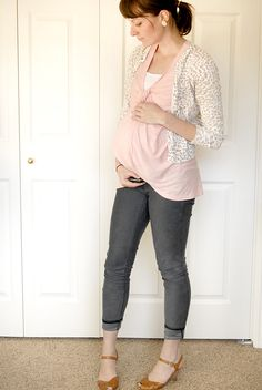 Non-maternity soft pink outfit (I made a point to not wear any maternity clothes through my entire pregnancy, this is my documentation of those outfits)
