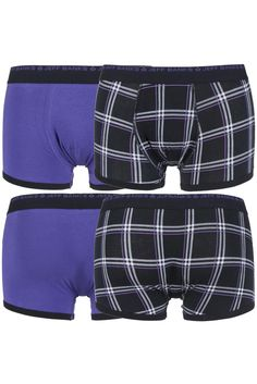 Jeff Banks Newbury Plain and Chequered Cotton Boxer Shorts £10.99