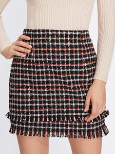 Sheath Above Knee/Short Skirts Decorated with Fringe, Zipper. Mid Waist. Plaid design. Trend of Spring-2018, Fall-2018. Designed in Multicolor. Fabric has no stretch.