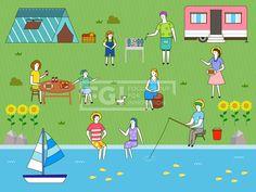 SILL229, 프리진, 일러스트, 생활, 여행, 라이프스타일, 라이프, 벡터, 에프지아이, 사람, 남자, 여자, 단체, 캐릭터, 서있는, 라인, 심플, 패턴, 무늬, 문양, 여름, 전신, 앉아있는, 텐트, 캠핑, 어린이, 소녀, 바비큐, 생선, 물고기, 과일, 오렌지, 사과, 바구니, 소시지, 접시, 테이블, 음료, 나무, 통나무, 모자, 밀짚모자, 의자, 동물, 강아지, 반려동물, 애완동물, 해바라기, 꽃, 식물, 잔디, 잔디밭, 풀, 바위, 돌, 강, 배, 교통, 요트, 낚시, 양동이, 앞치마, 수풀, illust, illustration #유토이미지 #프리진 #utoimage #freegine  19992369