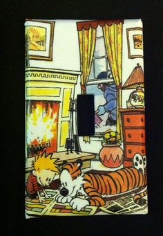 Calvin and Hobbes fireplace light switch cover