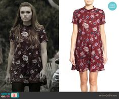 407d1ad418 Lush Floral Print Mock Neck Dress. WornOnTV. Lydia s red floral short  sleeved dress on Teen Wolf