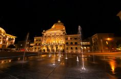 water fountains at night | Water fountains in Bundesplatz (Confederation Plaza) with the ...
