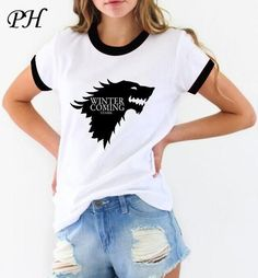 Game of Thrones T Shirt Winter Is Coming Stark Wolf Funny Casual T-Shirt Women's Top