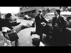 PHOTO: Pic 2 Location: Rob Gretton, Joy Division's manager, Ian Curtis and Bernard Sumner outside TJ Davidson's Rehearsal Studios Joy Division, New Wave Music, My Music, Poker, Rehearsal Studios, Ian Curtis, Silly Photos, Unknown Pleasures, Monty Python
