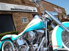 Cover Custom Harley Solo Seat With White Ostrich, Yellow Piping And Turquoise Vinyl