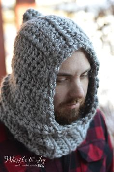 Free Crochet Pattern - Farmer's Chunky Hooded Cowl | Stay cozy and warm with this super chunky hood!