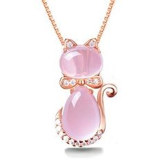 Our Cute Cat Ross Quartz Pink Opal Jewelry Necklace is cute, fun, and elegant!This fun necklace features a dainty rose quartz cat pendant that will just melt your heart.This iconic cat necklace is dazzling under the light and will compliment you. Cat Necklace, Necklace Price, Necklace Types, Necklace Chain, Necklace Holder, Rose Gold Pendant, Gold Pendant Necklace, Crystal Necklace, Crystal Rhinestone