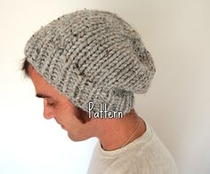 KNITTING PATTERN Knit Cap - Unisex Knit Cap - Guys Knit Cap - Beanie Cap - Chunky Cap by CdCkDesign on Etsy