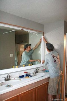 Remodelaholic | Framing A Large Bathroom Mirror: