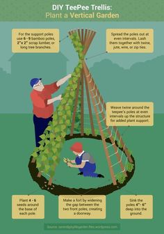 Children's Garden Design Ideas DIY Teepee Trellis: Plant a Vertical Garden (and make a perfect hideout for little ones!)DIY Teepee Trellis: Plant a Vertical Garden (and make a perfect hideout for little ones! Teepee Diy, Child Teepee, Fairytale Garden, Diy Jardim, Vegetable Farming, Vegetable Garden Design, Terraced Vegetable Garden, Small Space Gardening, Gardening With Kids