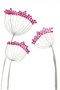 """Pink Allium Flowers"" by Jennifer Comstock (printmakerjenn).  Looks like pencil eraser stamps and pencil!!! C."