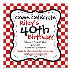 Red Black Chequered 40th Birthday Party Invitation - maybe a save-the-date?