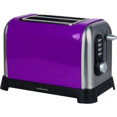 Sabichi Purple 2 Slice Toaster ($37) ❤ liked on Polyvore featuring home, kitchen & dining, small appliances, bread toaster, stainless steel kitchen accessories, stainless steel toaster, stainless toaster and purple toaster