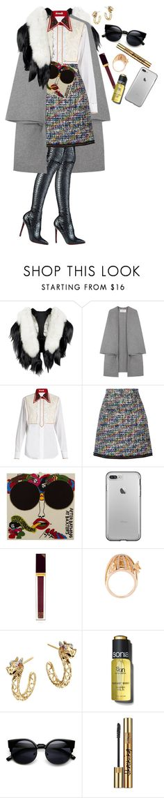 """Tear drops stains dries in thunder"" by karllydolly ❤ liked on Polyvore featuring Fearfur, Valentino, Miu Miu, Christian Louboutin, Boutique Moschino, Olympia Le-Tan, Tom Ford, Christina Debs, John Hardy and Sonia Kashuk"