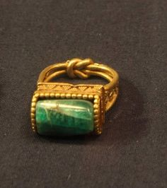 Ancient Egyptian Ring Gold ring with green jasper stud and...