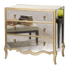 I like these mirror chests, from the Barbour Spangle Design event at Joss and Main! A pretty crystal lamp, would look perfect placed on top. Http://lelandswallpaper.com
