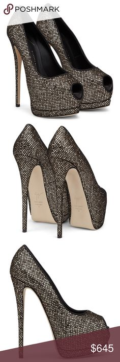 Giuseppe Zanotti Pumps Open toe golden glitter Giuseppe Zanotti Shoes Heels