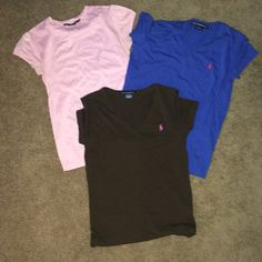 ⭐️Polo Ralph Lauren BUNDLE⭐️ Size small. Sport fit. Pink blue and brown. Great condition. Brown is medium but fits same as the smalls! Polo by Ralph Lauren Tops Tees - Short Sleeve