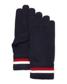 Striped Logo Wool Gloves, Navy