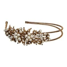 Like a treasured heirloom, Antique Bouquet Side Tiara features a gold vintage style design accented with pearl and crystal detail for classic bridal style. Vintage Hair Accessories, Wedding Accessories, Wedding Tiaras, Wedding Hair, Wedding Stuff, Vintage Headpiece, All Hairstyles, Glamorous Hair, Vintage Glamour