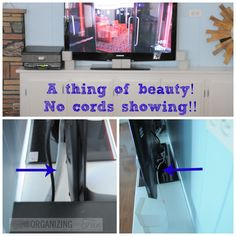 No cords showing - getting them organized! | OrganizingMadeFun.com