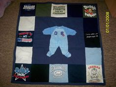 Infant memory t-shirt quilt from onesies. https://www.facebook.com/pages/Custom-T-shirt-Quilts-by-Raye-Lin/164548903576445