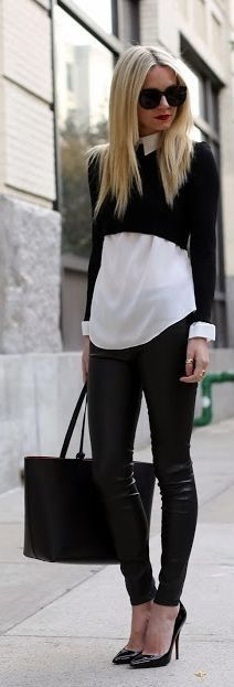 Classic meets edgy with this simple black & white combo. Layer a cropped sweater with a crisp white button up. Throw on leather leggings for a modern night out look.