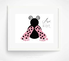 Pink Ladybug Baby Footprint Art Print - Baby Girl Nursery Art - Pink Nursery Wall Art - Personalized Girls Room via Etsy. I want to try to make these for the girls' room. Ladybug Nursery, Baby Ladybug, Pink Ladybug, Ladybug Art, Ladybug Room, Baby Footprint Art, Footprint Crafts, Diy Cadeau Noel, Personalized Wall Art