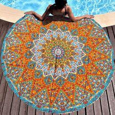 "my shop: 70 "" Inch Orange Psychedelic Art Star Decoration Round Turquoise Roundie Beach Blanket Hippie Mandala Bohemian Picnic Yoga Mat Picnic Beach Blanket, Picnic Blanket, Outdoor Blanket, Mandala Print, Mandala Tapestry, Psychedelic Art, Screen Printing Process, Elephant Tapestry, Star Wars"