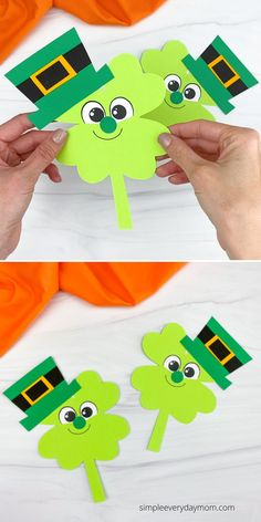 Need a quick St. Patrick's Day craft for young kids to make? Try out this shamrock Leprechaun craft. It comes with a free printable template and is great to make with preschoolers, pre-K, and kindergarten age children. St Patrick's Day Crafts, St Patricks Day Crafts For Kids, K Crafts, Daycare Crafts, Classroom Crafts, Shamrock Printable, Shamrock Template, Printable Crafts, Templates Printable Free