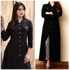 Excited to share this item from my shop: VeroniQ Trends- New Designer Wear Black Shirt Kurti with Stripes Palazzo fully stitched- Casual wear, Formal wear, Office wear. Source by bhawnavarodra dresses black Kurta Designs Women, Kurti Neck Designs, Plain Kurti Designs, Mode Bollywood, Bollywood Fashion, Designer Wear, Designer Dresses, Stylish Dresses, Fashion Dresses
