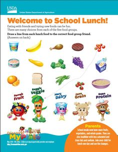 Help #kindergarten families learn about the 5 #MyPlate food groups & #schoollunch! #DiscoverMyPlate #B2S #TeamNutrition