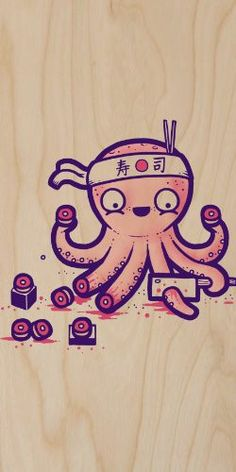 'Octosushi' Funny Japanese Octopus Chef Cutting Tentacles Making Sushi – Plywood Wood Print P… – octopus tattoo Octopus Tattoo Design, Octopus Tattoos, Poster Wall, Poster Prints, Japanese Tatoo, Chef Tattoo, Japanese Funny, Japan Tattoo, Tattoo Blog
