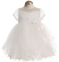 Organza and Tulle Dress with Satin Bow & Flower - Christening & Baptism - Baby   Childrensalon