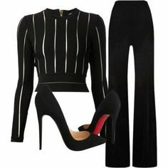A fashion look from September 2015 featuring Balmain tops, MaxMara pants and Christian Louboutin pumps. Browse and shop related looks. Mens New Years Eve Outfit Mode Outfits, Fall Outfits, Fashion Outfits, Womens Fashion, Summer Outfits, Ladies Fashion, Korean Outfits, School Outfits, Mode Chic