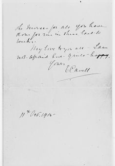 """Final page of Edith Cavell's last letter, probably sent to Sister Wilkins, dated 11 October 1915. The final line of the letter reads: """"My love to you all - I am not afraid but quite happy""""."""