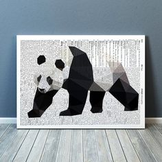 Geometric panda poster. Lovely bear print, colorful decor for your home and office. Animal art. Available in two sizes: A4 (8.2x11) and A3