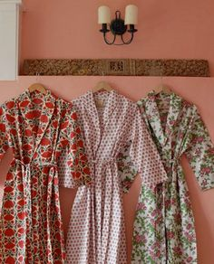 Red Lotus/Pink Rose/Pink Butti Dressing Gown Hand Block Printed on Organic Cotton