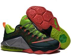 new styles a5464 1d829 Nike Lebron 12 Low Green Grey Orange Red   Lebron 12 Low men size shoes for  sale 2017   Pinterest   Nike lebron and Gray