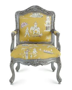 Love the chair & toile elephant fabric Danbury Bergere Chair